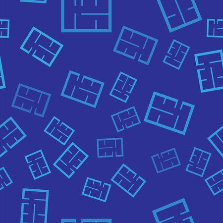 Blue House plan icon isolated seamless pattern on blue background. Vector Illustration Stock Illustratie
