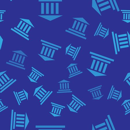 Blue Museum building icon isolated seamless pattern on blue background. Vector Illustration