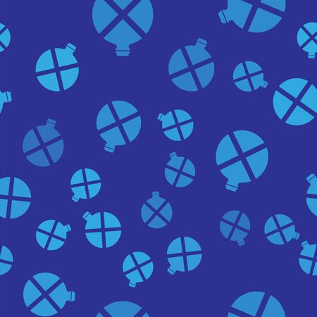 Blue Canteen water bottle icon isolated seamless pattern on blue background. Tourist flask icon. Jar of water use in the campaign. Vector Illustration