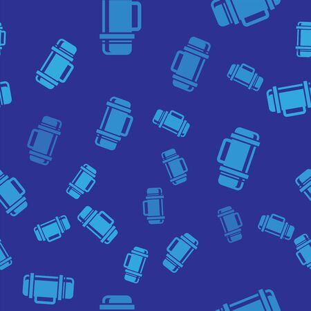 Blue Thermo container icon isolated seamless pattern on blue background. Thermo flask icon. Camping and hiking equipment. Vector Illustration Ilustrace