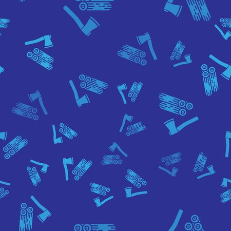 Blue Wooden axe and wood icon isolated seamless pattern on blue background. Lumberjack axe. Vector Illustration Illustration