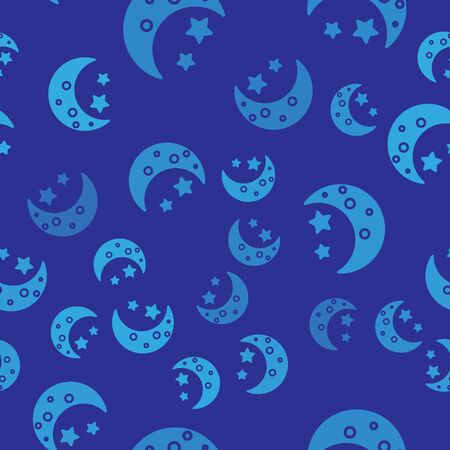 Blue Moon and stars icon isolated seamless pattern on blue background. Vector Illustration