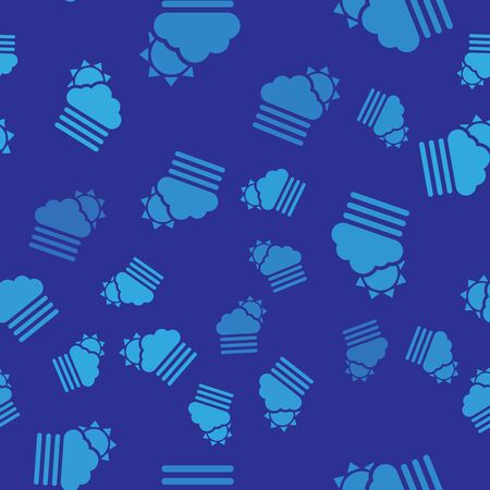 Blue Fog and cloud with sun icon isolated seamless pattern on blue background. Vector Illustration