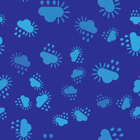 Blue Cloudy with rain and sun icon isolated seamless pattern on blue background. Rain cloud precipitation with rain drops. Vector Illustration