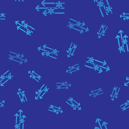 Blue Wind and snow icon isolated seamless pattern on blue background. Windy weather. Vector Illustration Illusztráció