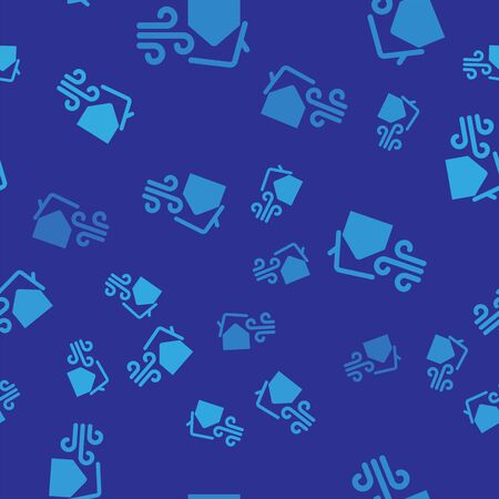 Blue Tornado swirl damages house roof icon isolated seamless pattern on blue background. Cyclone, whirlwind, storm funnel, hurricane wind icon. Vector Illustration