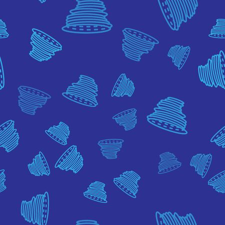Blue Tornado icon isolated seamless pattern on blue background. Cyclone, whirlwind, storm funnel, hurricane wind or twister weather icon. Vector Illustration