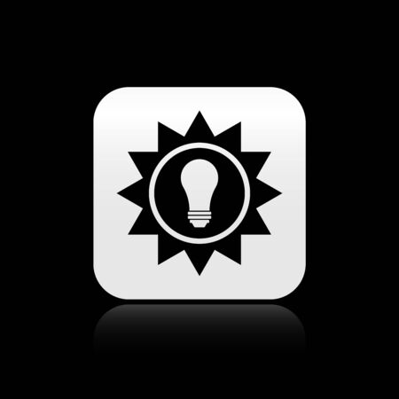 Black Solar energy panel icon isolated on black background. Sun and light bulb. Silver square button. Vector Illustration