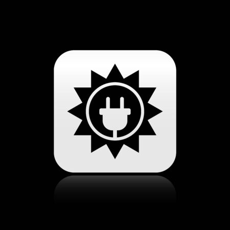 Black Solar energy panel icon isolated on black background. Sun and electric plug. Silver square button. Vector Illustration