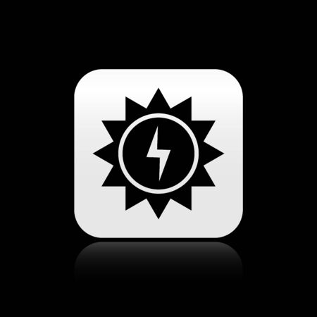 Black Solar energy panel icon isolated on black background. Sun with lightning symbol. Silver square button. Vector Illustration