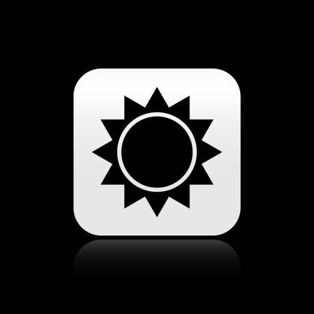 Black Sun icon isolated on black background. Silver square button. Vector Illustration