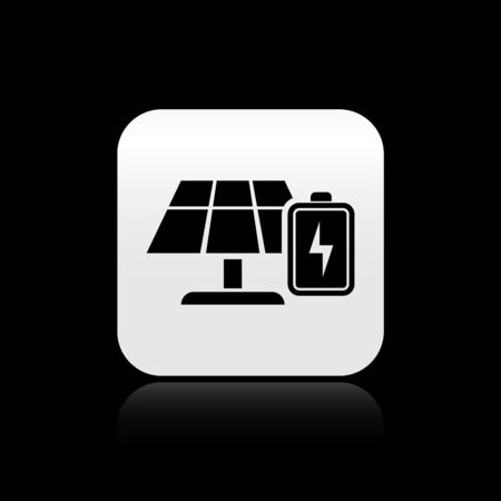 Black Solar energy panel and battery icon isolated on black background. Silver square button. Vector Illustration Ilustração