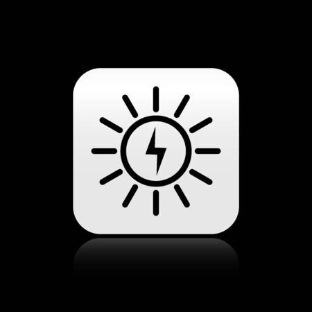 Black Solar energy panel line icon isolated on black background. Silver square button. Vector Illustration