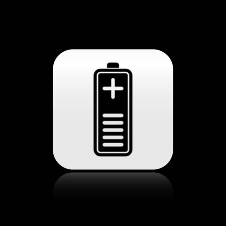 Black Battery charge level indicator icon isolated on black background. Silver square button. Vector Illustration