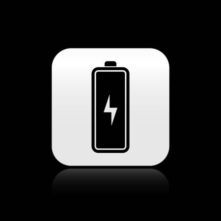 Black Battery icon isolated on black background. Lightning bolt symbol. Silver square button. Vector Illustration