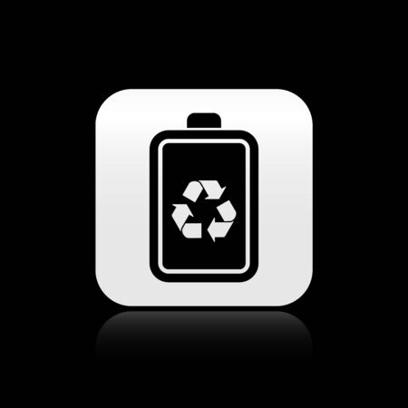 Black Battery with recycle symbol line icon isolated on black background. Battery with recycling symbol - renewable energy concept. Silver square button. Vector Illustration