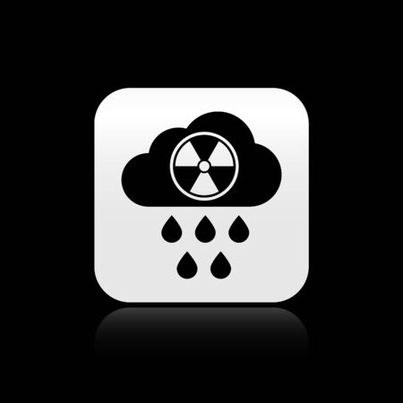 Black Acid rain and radioactive cloud icon isolated on black background. Effects of toxic air pollution on the environment. Silver square button. Vector Illustration