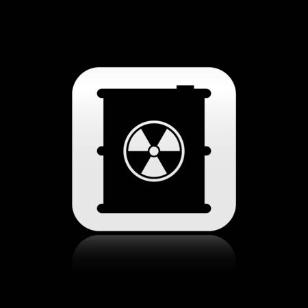 Black Radioactive waste in barrel icon isolated on black background. Toxic refuse keg. Radioactive garbage emissions, environmental pollution. Silver square button. Vector Illustration Ilustrace