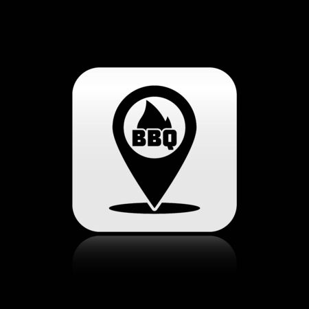 Black Map pointer with barbecue icon isolated on black background. Fire flame icon. Barbecue and BBQ grill symbol. Silver square button. Vector Illustration