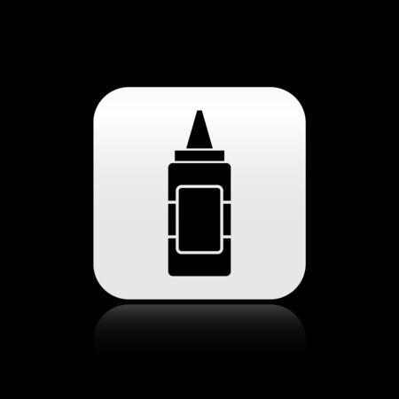 Black Mustard bottle icon isolated on black background. Silver square button. Vector Illustration Ilustração