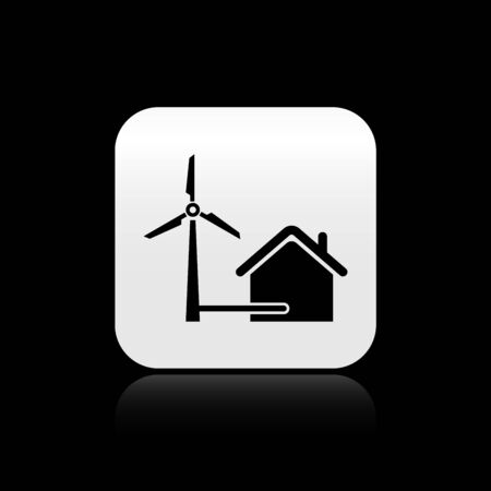 Black House with wind turbine for electric energy generation icon isolated on black background. Eco-friendly house. Environmental Protection. Silver square button. Vector Illustration Ilustração