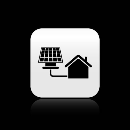 Black House with solar panel icon isolated on black background. Ecology, solar renewable energy. Eco-friendly house. Environmental Protection. Silver square button. Vector Illustration