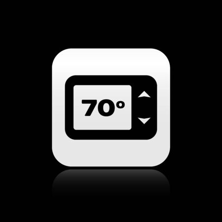 Black Thermostat icon isolated on black background. Temperature control. Silver square button. Vector Illustration