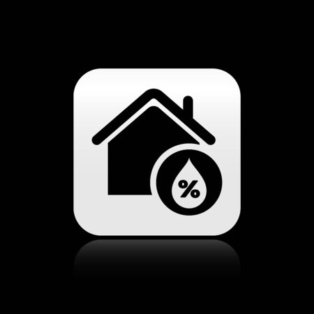 Black House humidity icon isolated on black background. Weather and meteorology, thermometer symbol. Silver square button. Vector Illustration