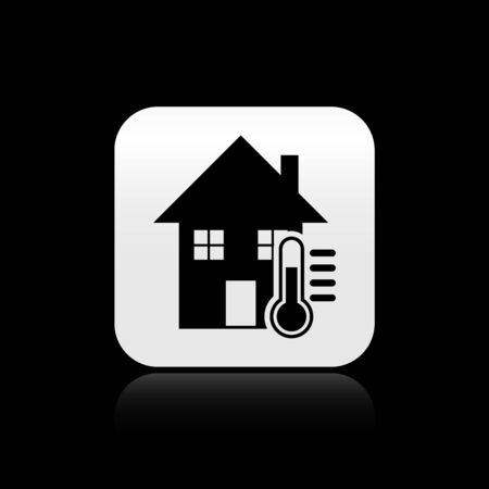 Black House temperature icon isolated on black background. Thermometer icon. Silver square button. Vector Illustration  イラスト・ベクター素材