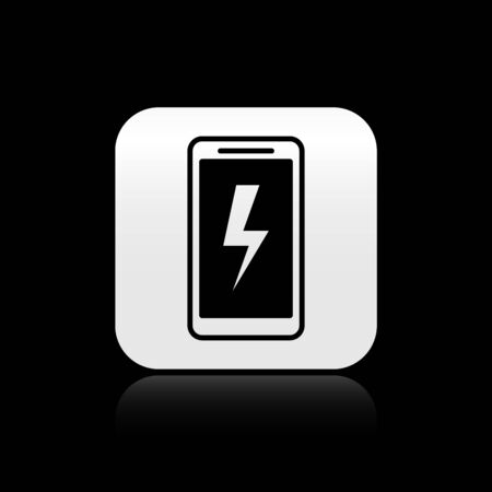 Black Smartphone charging battery icon isolated on black background. Phone with a low battery charge. Silver square button. Vector Illustration