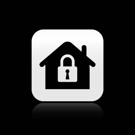 Black House under protection icon isolated on black background. Home and lock. Protection, safety, security, protect, defense concept. Silver square button. Vector Illustration