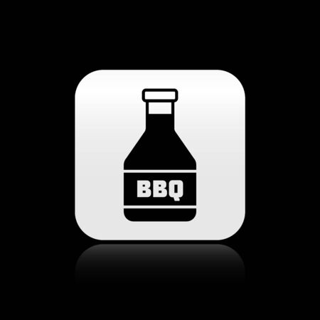 Black Ketchup bottle icon isolated on black background. Barbecue and BBQ grill symbol. Silver square button. Vector Illustration Illustration