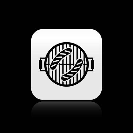 Black Barbecue grill with sausage icon isolated on black background. BBQ grill party. Silver square button. Vector Illustration