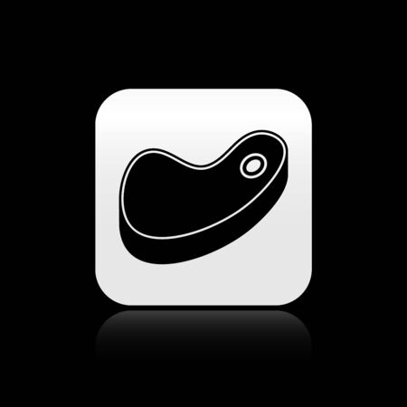 Black Steak meat icon isolated on black background. Silver square button. Vector Illustration