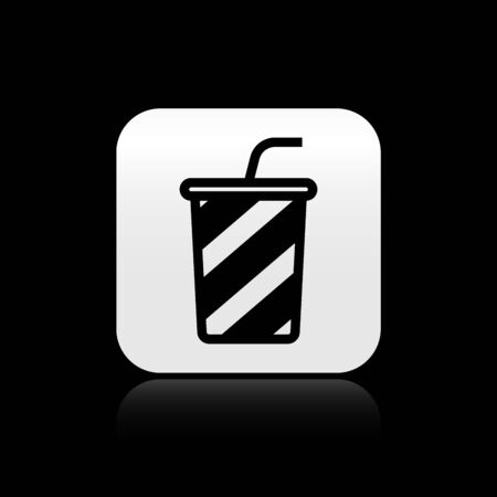 Black Glass with water icon isolated on black background. Soda drink glass with drinking straw. Fresh cold beverage symbol. Silver square button. Vector Illustration Ilustrace