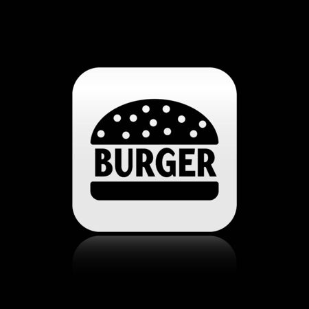 Black Burger icon isolated on black background. Hamburger icon. Cheeseburger sandwich sign. Silver square button. Vector Illustration