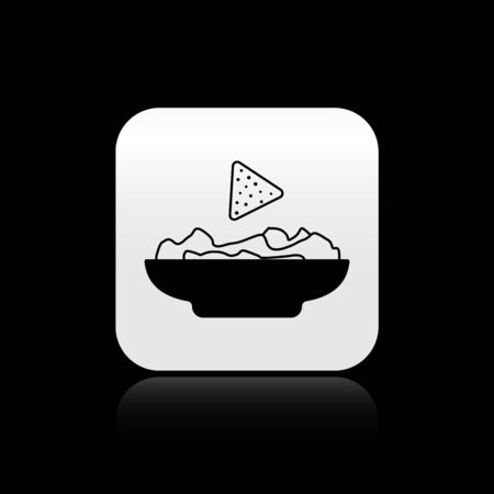 Black Nachos in plate icon isolated on black background. Tortilla chips or nachos tortillas. Traditional mexican fast food. Silver square button. Vector Illustration