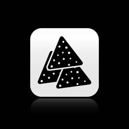 Black Nachos icon isolated on black background. Tortilla chips or nachos tortillas. Traditional mexican fast food. Silver square button. Vector Illustration