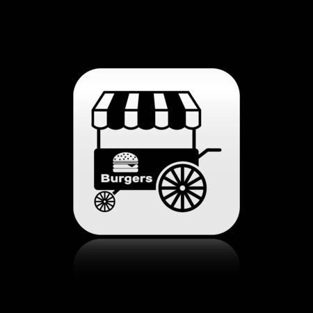 Black Fast street food cart with awning icon isolated on black background. Burger or hamburger icon. Urban kiosk. Silver square button. Vector Illustration 向量圖像