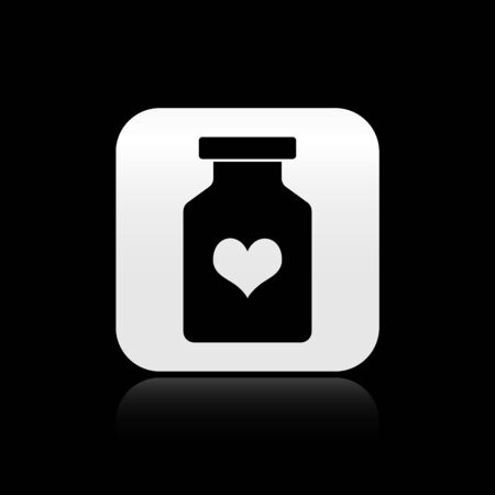 Black Medicine bottle with pills for potency, aphrodisiac icon isolated on black background. Sex pills for men and women. Silver square button. Vector Illustration