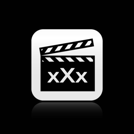 Black Movie clapper with inscription XXX icon isolated on black background. Age restriction symbol. 18 plus content sign. Adult channel. Silver square button. Vector Illustration