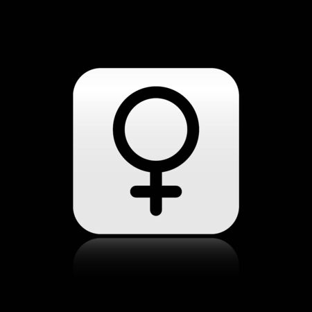 Black Female gender symbol icon isolated on black background. Venus symbol. The symbol for a female organism or woman. Silver square button. Vector Illustration Иллюстрация