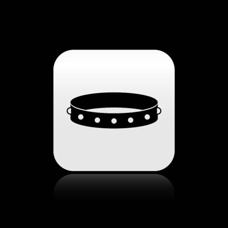 Black Leather fetish collar with metal spikes on surface icon isolated on black background. Fetish accessory. Sex toy for men and woman. Silver square button. Vector Illustration Иллюстрация