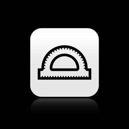 Black Protractor grid for measuring degrees icon isolated on black background. Tilt angle meter. Measuring tool. Geometric symbol. Silver square button. Vector Illustration Illusztráció