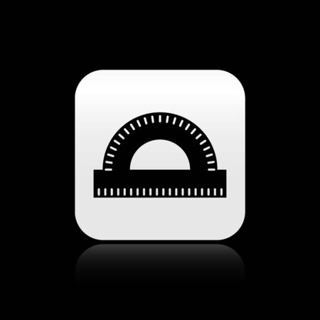 Black Protractor grid for measuring degrees icon isolated on black background. Tilt angle meter. Measuring tool. Geometric symbol. Silver square button. Vector Illustration 向量圖像