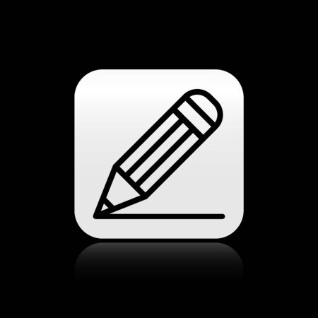 Black Pencil and line icon isolated on black background. Education sign. Drawing and educational tools. School office symbol. Silver square button. Vector Illustration Ilustração