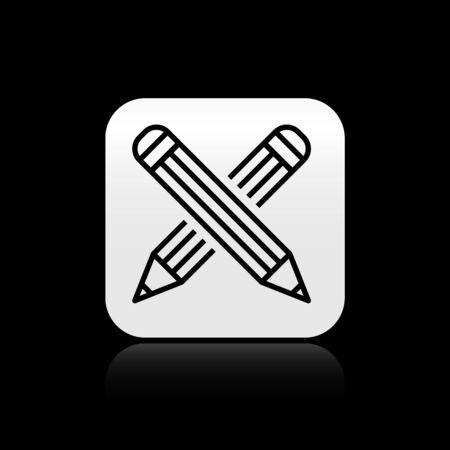 Black Crossed pencil icon isolated on black background. Education sign. Drawing and educational tools. School office symbol. Silver square button. Vector Illustration Ilustração