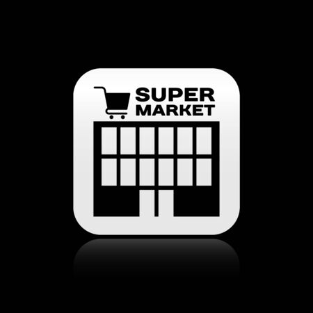 Black Supermarket building with shopping cart icon isolated on black background. Shop or store. Mall building. Silver square button. Vector Illustration