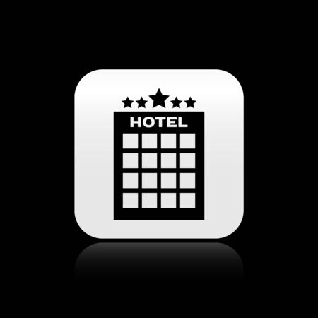 Black Hotel building icon isolated on black background. Silver square button. Vector Illustration