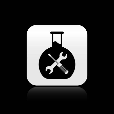 Black Bioengineering with screwdriver and wrench icon isolated on black background. Adjusting, service, setting, maintenance, repair, fixing. Silver square button. Vector Illustration